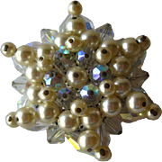 Crystal and Pearl Star Vintage Pin / Vintage Jewelry / Vintage Brooch / Wedding Bouquet