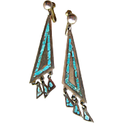 SOLD 50% OFF Vintage Inlaid Turquoise Mexican Sterling Earrings / Signed Jewelry / Vintage Jew
