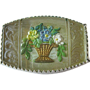 Vintage Goofus Glass Victorian Pin / Vintage Jewelry / Estate Jewelry