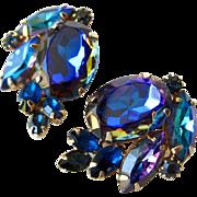 Brilliant Alice Caviness Blue Aurora Borealis Rhinestone Earrings / Clip On Earrings / Vintage