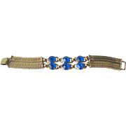 Vintage Blue Rhinestone and Mesh Bracelet / Costume Jewelry / Vintage Jewelry / Gift for Her /