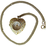 Montreluxe Rhinestone Heart Watch Pendant Necklace in Working Condition / Byn Watch Movement /