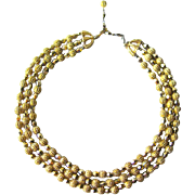 Trifari Gold Nugget and Glass Bead Three Strand Necklace / Fashion Jewerly / Designer Jewelry