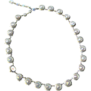 Vintage Bezel Set Crystal Necklace / Fashion Jewerly / Art Deco Jewelry / Art Deco Necklace