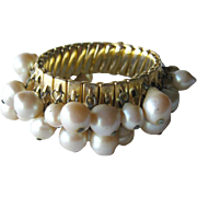 Vintage Faux Pearl Bead Expansion Bracelet / Expansion Bracelet / Wedding Bracelet / Bridal Br