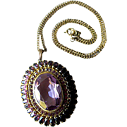 Amethyst and Rhinestone Large Pendant Necklace / Fashion Jewerly / 1950s Necklace