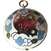 Vintage Cloisonne Butterfly Double Sided Charm or Pendant / Vintage Jewerly / Charm Bracelet /