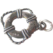 Sterling Silver Lifesaver Vintage Charm / Vintage Jewerly / Charm Bracelet / Nautical Charm