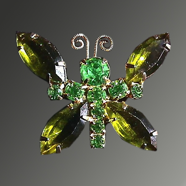 Green Rhinestone Butterfly Brooch