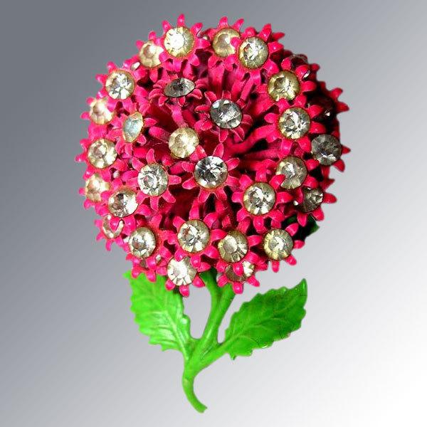 Pretty in Pink Enamel & Rhinestone Flower Brooch