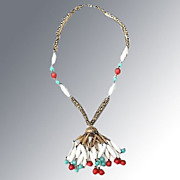 Flapper Style Necklace -- White, Turquoise & Orange Beads