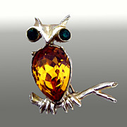 Amber Rhinestone Owl Pin Signed Dodds