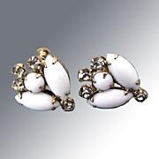 Elegant White Vintage Rhinestone Earrings