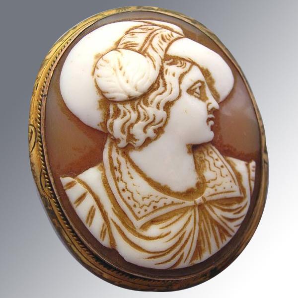 Carnelian Cameo Brooch Antique Carved Gentleman