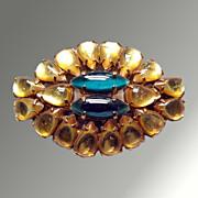 Gold & Green Rhinestone Vintage Brooch
