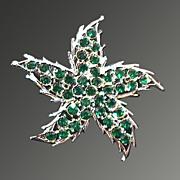Vintage Green and Silver Toned Rhinestone Starfish Pin