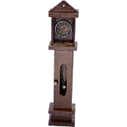 Vintage Miniature Doll House Wooden Grandfather Clock / Dollhouse Toy / Miniature Clock / Cabi