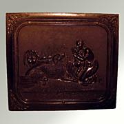 Antique Victorian Daguerreotype In Ornate Dog Scene Gutta Percha Union Case