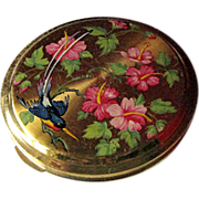 Vintage Powder Compact With Floral Hibiscus and Bird Of Paradise Design and Guilloche Back / Vanity Accessory / Purse Accessory
