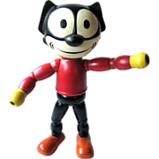 Rare Felix the Cat Rubber Head Wood Body 1940s By Cameo Doll Company / Vintage Doll / Collecti