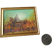 Real Canvas Oil Painting For Miniature Dollhouse /  Canvas Oil Painting in Gold Frame / Dollho