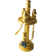 Brass Fireplace Tool Set in Stand Miniature Dollhouse / Doll House Furniture / Miniature Furni