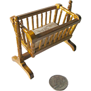 Vintage Miniature Wood Turned Rocking Baby Cradle With Mattress / Dollhouse Doll Furniture / M
