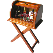 SOLD Miniature Dollhouse Roll Top Liquor Cabinet With Tray and Bottles / Dollhouse Furniture /