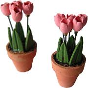 Tulips in Pots Vintage Dollhouse Miniature  / Doll House Accessories / Miniature Plant