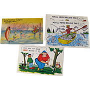 Four Vintage Humorous Sport Postcards / Vintage Ephemera / Souvenir Post Card / Fishing ...