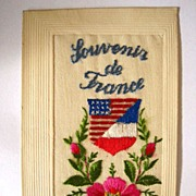 SOLD Embroidered Silk Post Card - Louvonir De France 1919