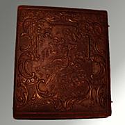 Daguerreotype In Ornate Bird Scene Leather Union Case