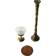 Tall Brass Candlestick and Oil Lamp Miniature Dollhouse / Doll Furniture