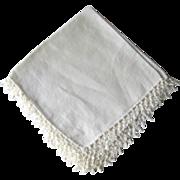 Vintage Tatted Edged Wedding Handkerchief / Bridal Hanky / Bride Hankie / Vanity Item / Womans