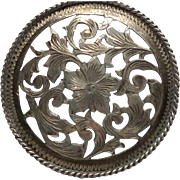 Sterling Door Knob Dresser Drawer Pull  Nouveau Style Trumpet Flower Vine Silver Signed Handle
