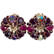 Rich WEISS VINTAGE Earrings Round Garnet to Ruby Red Purple Glass Rhinestone Signed