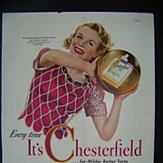 Vintage tobacco advertising for Chesterfield 1942