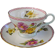 REDUCED Shelley: Cup and Saucer begonia