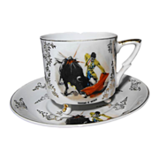 REDUCED Tri-Footed Cup and Saucer: Bull and Matador