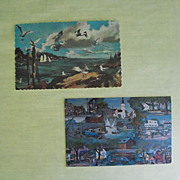 Postcards -Pair of New England Scene based upon Artworks Circa 60s.