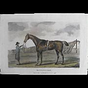 "REDUCED Lithograph Print of John Scott engraving of horse "" Bennington"" from 1796 :"