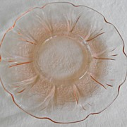 SALE PENDING Jennette depression glass Cherry Blossom saucers in pink  Circa: 1930s