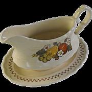 Vernonware Fruit Basket by Metlox gravy with tray circa 1970