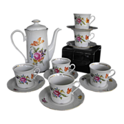 REDUCED J L Menau Henneberg coffee set with six cups and saucers