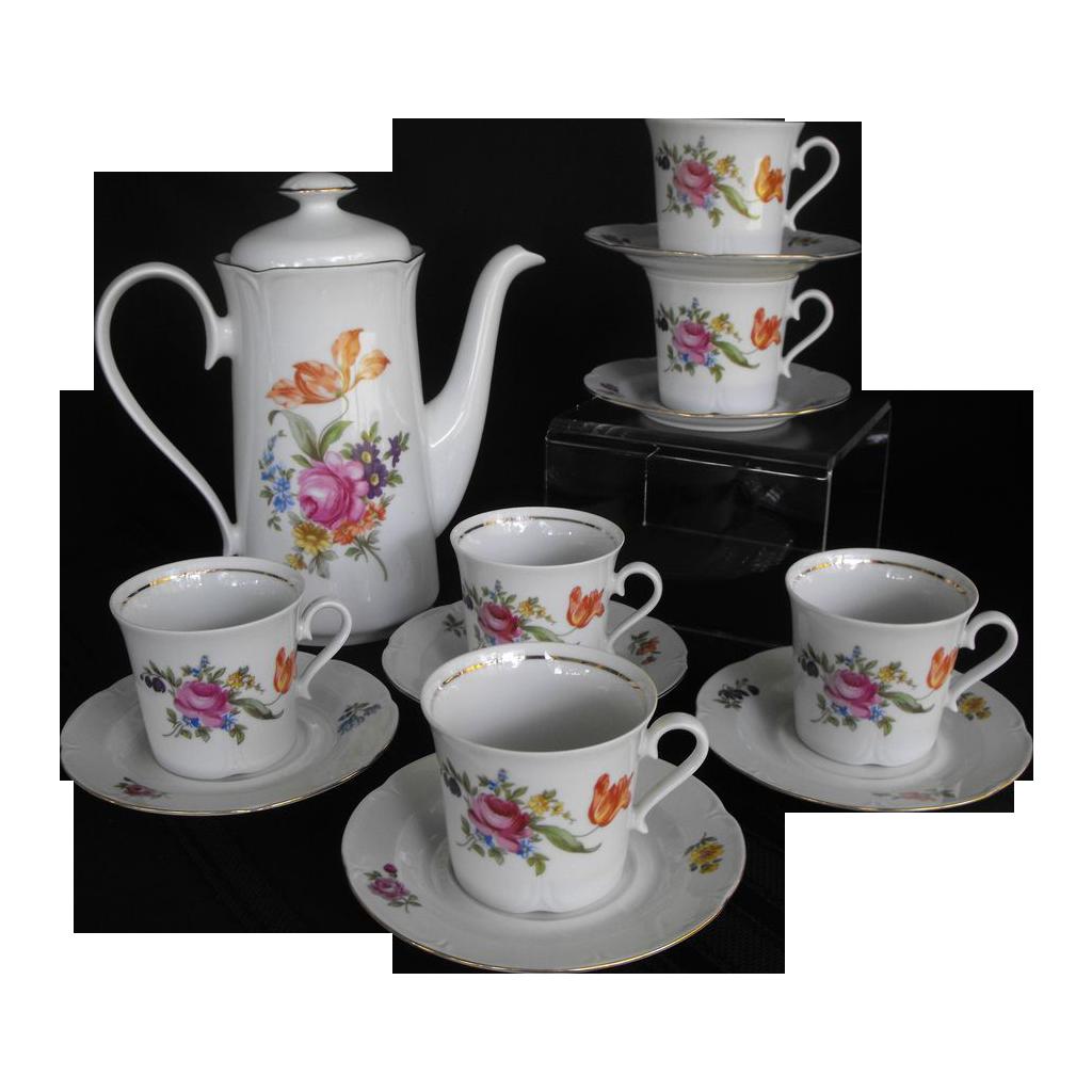 J L Menau Henneberg coffee set with six cups and saucers