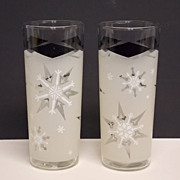 SOLD Pair 1961 White and Frosted Snowflake with Black Diamonds MID CENTURY  Tumblers