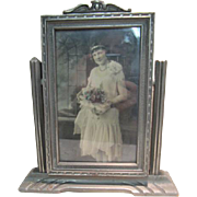 Art Deco Carved Wood Tilting Swing Table Top Frame with Handcolored Tinted Photo of Bride
