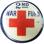 SOLD Red Cross Pinback - 2nd War Fund