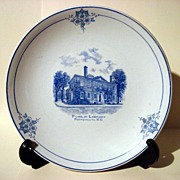Antique 1890 Harker Pottery Co. Plate Of Public Library - Portsmouth, N.H.