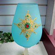 1940's Decorated Frosted Velvet Glass Vase